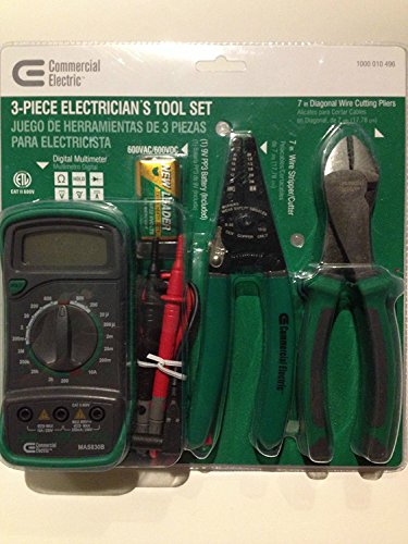 """3 Piece Electrician's Tool Set, AC DC Current, Resistance, Diode, DMM Digital Multimeter, 7"""" Diagonal Wire Cutting Pliers, 7"""" Wire Snipper/Cutter"""