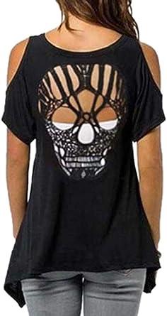 Babao Camisas Negras con Espalda Abierta y Calavera Negra para Mujer - Camisetas con Hombros Descubiertos y Calavera con Hombros Descubiertos: Amazon.es: Ropa y accesorios