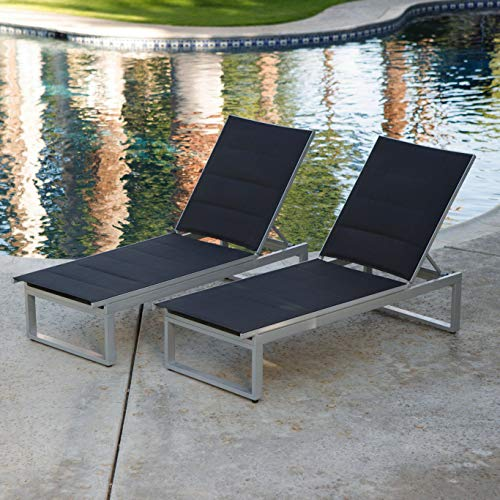 Patio Lounge Set. Outdoor, Modern Furniture Kit For Porch, Deck, Lawn, Pool, Garden, Balcony, Conversation, Seating. Aluminum Frame, Padded, Sling Style Chaise Lounge With Adjustable Back Reclines