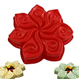 7-Cavity Silicone Flower Shape Cake Molds Fondant Shape Decorating Ice Cube Trays for Homemade Cake Chocolate Cupcake Random color