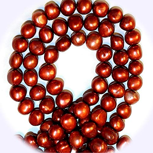 New Red 8mm - 9mm Semi- Round Potato Cultured Freshwater Pearl Jewelry-Making Beads DIY Craft Supplies for Handmade Bracelet Necklace