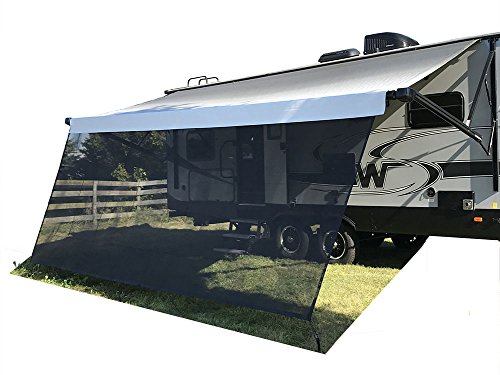 Tentproinc RV Awning Sun Shade 8'x15' Black Mesh Screen Blocker Complete Kits - 3 years guarantee limited