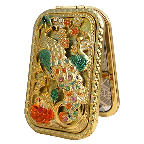 Supow Silver Antique Like Compact Mirror  Vintage Square Compact Purse Mirror  Magnification   Clear Reflection Unique Jewellery Gift