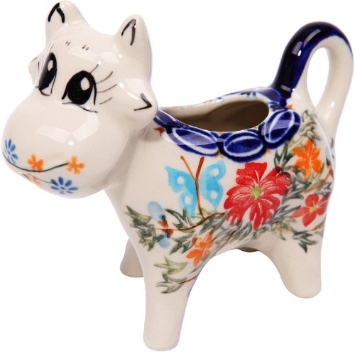 (Polish Pottery Ceramika Boleslawiec, 0501/238, Creamer Cow, 1/3 Cup, Royal Blue Patterns with Red Cornflower and Blue Butterflies Motif)