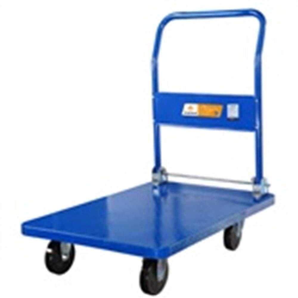 JIANPING Trolley Home Folding Portable Mute Trolley Car Shopping Cart Luggage Car Steel Warehouse Truck Can Bear 150kg Shopping Trolley (Color : A)
