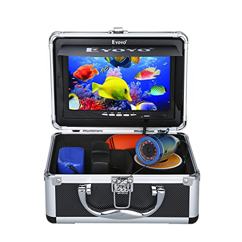 Eyoyo Portable 7 inch LCD Monitor Fish Finder Waterproof Underwater HD 1000TVL Fishing Camera 15m Cable 12pcs IR Infrared LED for Ice,Lake and Boat Fishing (Camera Video Underwater)