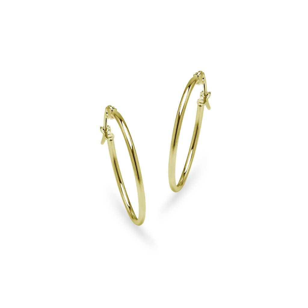 Stainless Steel Hoop Earrings One Pair Set for Women Girls 2mm x 20mm Silver Tone Assorted Colors