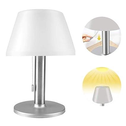 Riuty Lámpara de Mesa de Escritorio Solar LED, con Interruptor de Cadena de tracción, Impermeable, al Aire Libre, Interior, Regulable, luz Nocturna ...