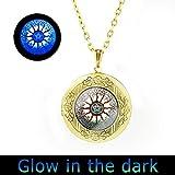 Glowlala@ Pentacle Tree of Live Glowing Locket Pendant Astrology Glowing Locket Necklace Zodiac Glowing Locket Jewelery Charm Glowing Pendant for Him or Her (brass)