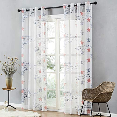 Topfinel Voile Curtains Eyelet 54x63 Drop Single Panel Red Star Printed Patten Sheer Drapes Window Treatments for Children Bedroom Living Room 140cmx160cm