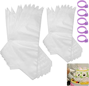 OFNMY Pastry Piping Bags -200 Pack Disposable Cake Decorating Bags with 5 Bag Ties Anti-Burst Cupcake Icing Bags for 2 Size Tips Couplers and Baking Cookies Candy Supplies Kits
