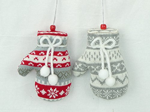 None Christmas Knitted Mitten Ornament Set of 2 Buyers' Choice 3 Styles/Colors (Gray, Red & White) -