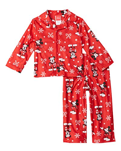 (Disney Kids' Toddler Mickey Mouse Holiday Family Sleepwear Collection, Candy Cane, 2T )