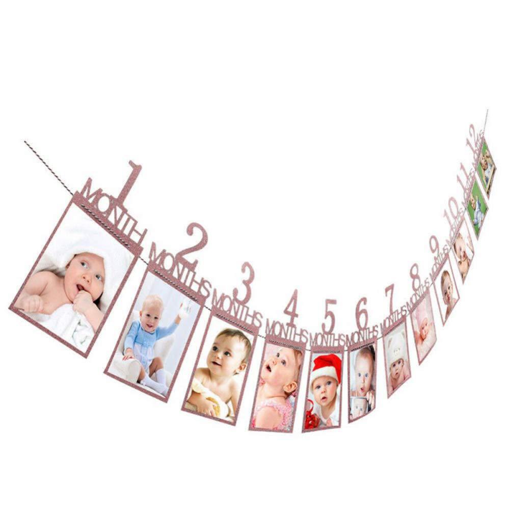 Beito 1set Geburtstag Photo Frame 1-12 Monate Baby Fotorahmen Dusche Baby-Foto-Halter-Kindergeburtstags-Geschenk Zimmerschmuck