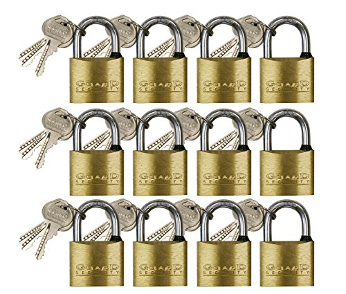 Guard Security 620X12 Solid Brass Padlock Gang Card Assorted with 1-Inch, 1-1/4-Inch, and 1-1/2-Inch Standard Shackle, 12-Pack