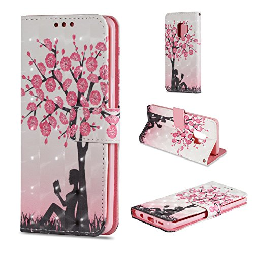 - Wallet Case for Samsung Galaxy S9 Plus Premium PU Painted Pattern [Foldable kickstand] Flip with Hand Strap Magnetic Protective Cover with Card Slots (Flowering Tree)