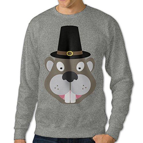 AcFun Men's Design Thanksgiving Beaver Crewneck Sweater Size XL Ash -
