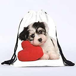 Little Dog And Heart Print Sports Gym Storage Vacation Casual Daypacks Yoga Runner Gymsack Portable