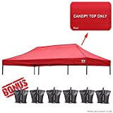100% Waterproof AbcCanopy 10x20 Replacement Top Cover for Caravan Pop up Canopy Tent , Bonus 6x Weight Bag (red)