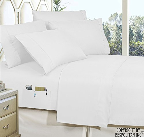 4-Piece Queen- Smart Sheet Set! Luxury Soft 1500 Thread Count Egyptian Quality Wrinkle and Fade Resistant with Side Storage Pockets on Fitted Sheet, Queen, White