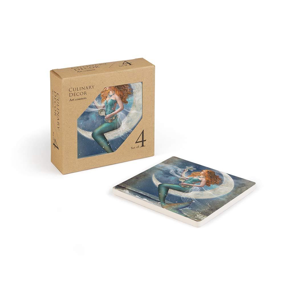 売上トップコースターセット:この装飾コースターセット 題名 ムーンライトとマーメイドはあなたの家の装飾に人気です。   B07K1RQ43W