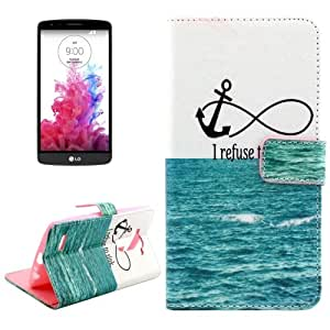 Letters Hanging on the Sea Pattern Cross Texture Funda con Tapa Holder Case Cover & Card Wallet Slots & Para LG G4