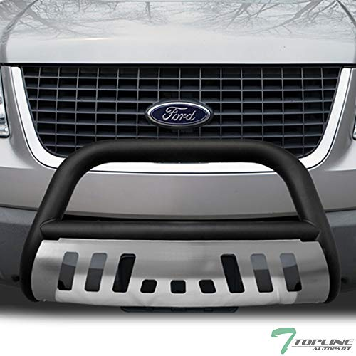 Topline Autopart Matte Black HD Heavyduty Bull Bar Brush Push Front Bumper Grill Grille Guard w/ Chrome Skin Plate 04-16 F150 Non-Ecoboost / 03-14 Expedition / 03-14 Lincoln Navigator / 06-08 Mark LT