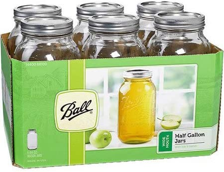 Ball Glass Mason Jar W//Lid /& Band 2 Pack - 6 Count Wide Mouth 64 Ounces,