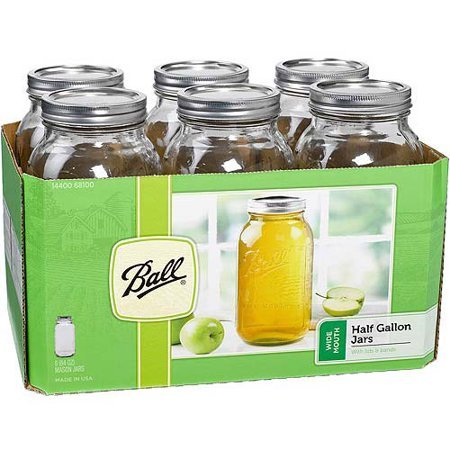 Ball Wide Mouth Half-Gallon 64 Oz. Glass Mason Jars with Lids and Bands, 6 Count