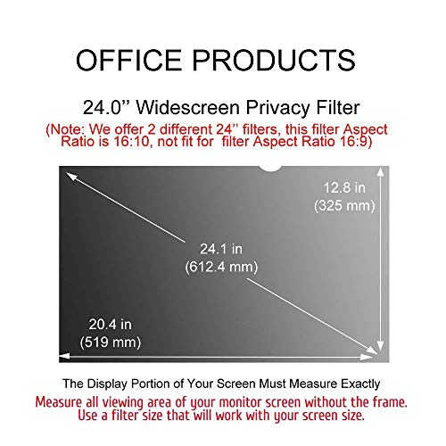 Ovimir 24 Inch (Diagonally Measured) Computer Privacy Screen Filter, [16:10 Aspect Ratio] for Widescreen Monitors Anti-Glare - Anti-Scratch Screen Protector by Ovimir (Image #6)