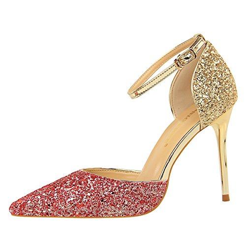 sandalias color punta solo rojo amarre talón del de elegante zapatos versátil Xue y Qiqi con fino alto plata gradiente El ranurada zapatos wEaBpI