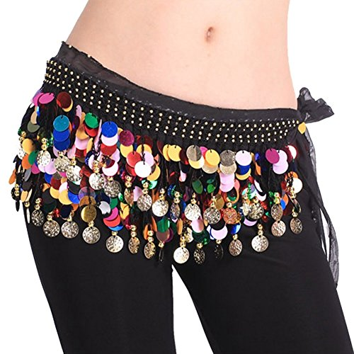 [DQdq Women's Belly Dance Chiffon Hip Scarf Waist Chain with Colorful Coins Black] (Made To Measure Belly Dance Costumes)
