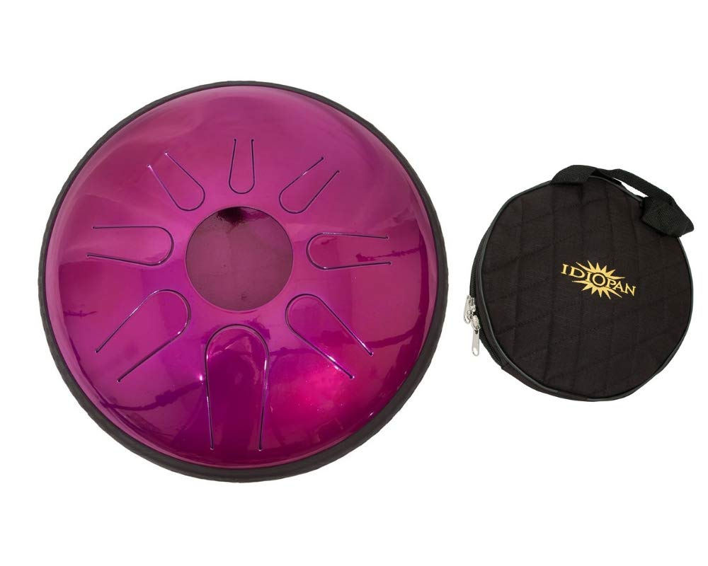 Idiopan Domina Steel Drum Package Includes: 12'' Tunable Steel Tongue Drum W/Mallets - Magenta + Idiopan 12'' Standard Gig Bag For Tongue Drum