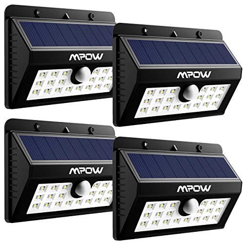 Mpow 4-Pack 20 LED Solar Lights,Outdoor Motion Sensor Wall Light Security Lighting for Patio Garden