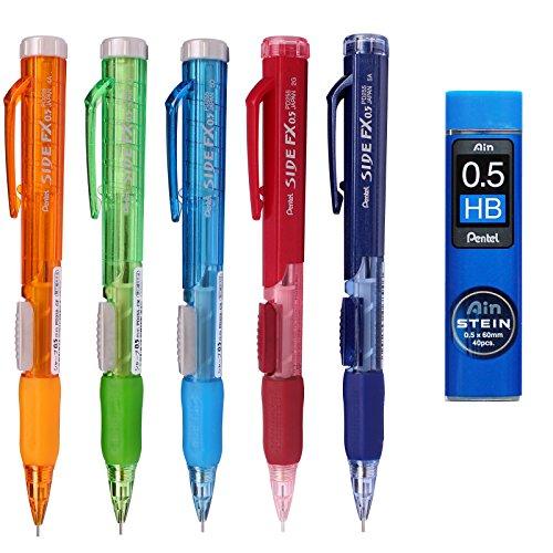 Pentel Side FX Mechanical Pencil, 0.5mm 7 Color Barrel +Refill Lead (5 Pack + Lead)