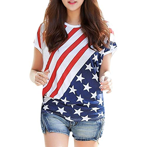 IEasⓄn Plus Size Women America Flag Print Short Sleeve Blouse Fashion Summer Tank Tee Shirt - Flag Dyed Polyester