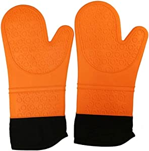 Sagekia Silicone Oven Mitts with Non-Slip Surface, Heat Resistant 14 Inches Flexible Oven Gloves, Professional for Cooking, Baking, BBQ (Orange, 1 Pair)