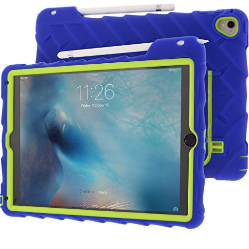Gumdrop Cases Hideaway Stand for Apple iPad Pro 9.7 (2016) A1673, A1674, A1675 Rugged Tablet Case Shock Absorbing Cover, Royal Blue/Lime by Gumdrop Cases