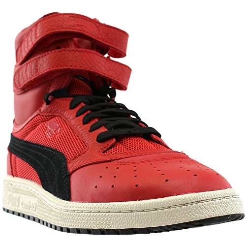 PUMA Men's Sky II Hi Color Blocked Lthr Sneaker, Toreador Black, 12 M - Leather Red Footwear Mid