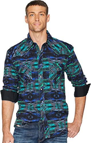 Snap Close Western Shirt - Rock and Roll Cowboy Men's Long Sleeve Snap B2S7029 Teal X-Large