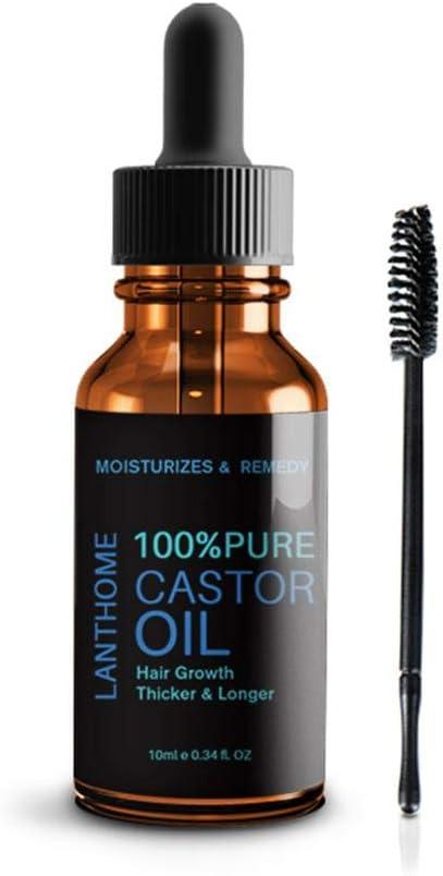 Aceite de ricino 100% puro, KOBWA con 1 cepillo de pestañas para crecimiento del cabello, cuero cabelludo, pestañas, cejas, 10 ml: Amazon.es: Belleza