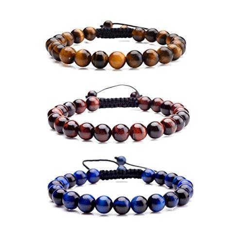 Jovivi 8MM Birthstone Gemstones Healing Power Crystal Macrame Adjustable Beaded Bracelet, Unisex (3pcs Tiger Eye with Black Rope) (Shamballa Rope)