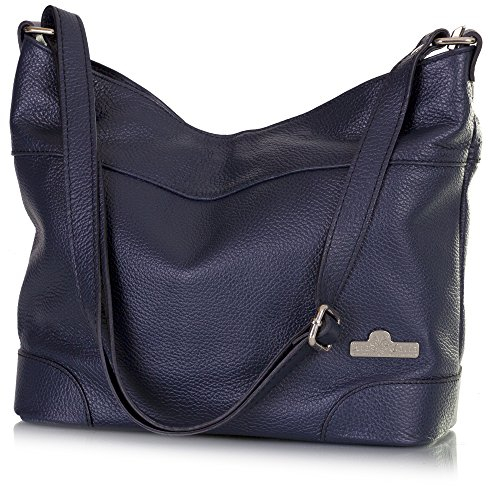 Leather Size Liatalia Deep Jane Hobo Medium Navy Genuine Italian Handbag Shoulder Womens qnTHtA