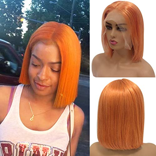 Orange 13x6 Lace Front Bob Wigs Human Hair Pre Plucked Thick 150% Density Brazilian Virgin Hair Straight Bob Hairstyle Deep Parting Lace Wigs Bleached Knots Color 10 Inchfor Black Women (Best Hairstyles For Black Women Over 50)