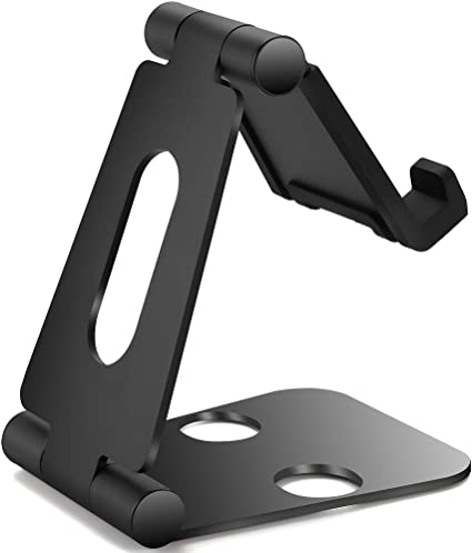 ,Black 4-10inch Desk Phone Holder with Non Slip Heavy Duty Aluminum,Fit Sanmsung and iPhone,Fit Tablet Stand and iPad Adjustable Cell Phone Stand