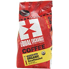 Equal Exchange Organic Whole Bean Coffee, Decaf, 12-Ounce Bag (Pack of 3) 28 Contains 3 bags, 12 oz per bag (36 oz) TASTE: Organic Decaffeinated Ground Full-Bodied Coffee with a Balanced Flavor of Sweet Nutty & Vanilla ROAST: Full City Roast Blend