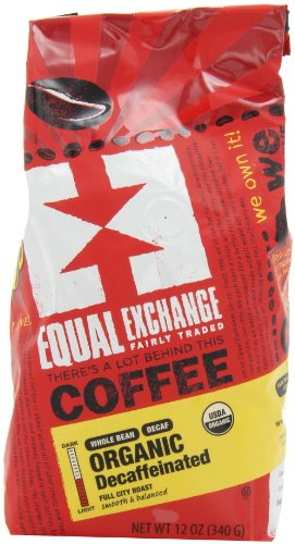 Equal Exchange Organic Whole Bean Coffee, Decaf, 12-Ounce Bag (Pack of 3) 1 Contains 3 bags, 12 oz per bag (36 oz) TASTE: Organic Decaffeinated Ground Full-Bodied Coffee with a Balanced Flavor of Sweet Nutty & Vanilla ROAST: Full City Roast Blend