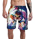 Goodstoworld Swim Trunks Men Long Surf Funny Galaxy Space Cat Astronaut Graphic Board Shorts Vacation Club Beach Swimwear Elastic Waist Summer Bathing Suits XXL