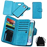 DRUnKQUEEn S6 Edge Plus Case, Wallet Leather Flip Card Holder Case, 2 in 1 Detachable Magnetic Back Cover for Samsung Galaxy S6 Edge+ Plus G9280 (NOT for S6/S6edge)