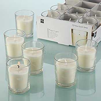 Hosley® Set of 48 Unscented Clear Glass Wax Filled Votive Candles - 12 Hour Burn Time. Glass Votive & Hand Poured Candle Included, Ideal Gift or Use for Aromatherapy, Weddings, Party Favors.